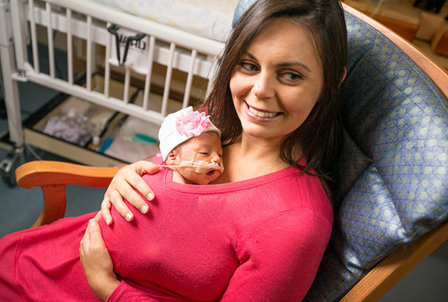 "The nursing staff agreed to let LeBar hold newborn daughter in a technique called ""ventral skin-to-skin contact,"" which has been shown to improve premature infants' health, both short- and long-term."