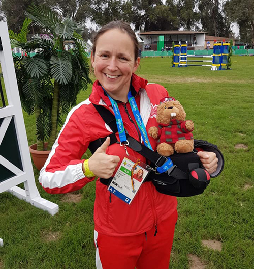 Nethery was able to coach the Canadian Pentathlon Team at the Pan Am Games in Peru July 2019 just 11 days after orthopaedic surgery.