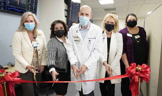 On hand for the ribbon cutting at Vanderbilt University Adult Hospital's new Operational Control Center were, from left, Shon Dwyer, MBA, RN, Schiara Gonzalez Parker, MBA, MSN, Stephan Russ, MD, MPH, Lee Ann Liska, MBA, and Susan Beggerow, MA.