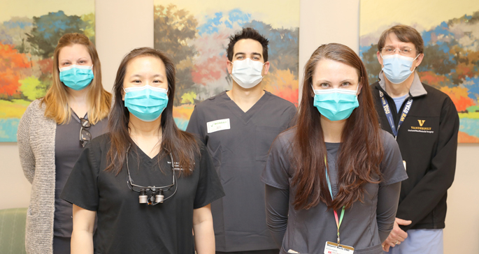 Members of the Vanderbilt Oral Health team include (front row, from left) Julie Rezk, DMD, Margaret Maclin, DMD, (back row, from left) Kelly Norris, DMD, Tyler Ames, DMD, and Samuel McKenna, MD, DDS. Oral and maxillofacial surgeons not pictured include Susie Lin, DDS, MD, Ashish Sharma, BDS, MSD, and Luis Vega, DDS.
