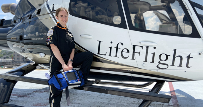 Ashley Brown Panas, MD, is one of several advanced providers on the Vanderbilt LifeFlight crew that include physicians and nurse practitioners.