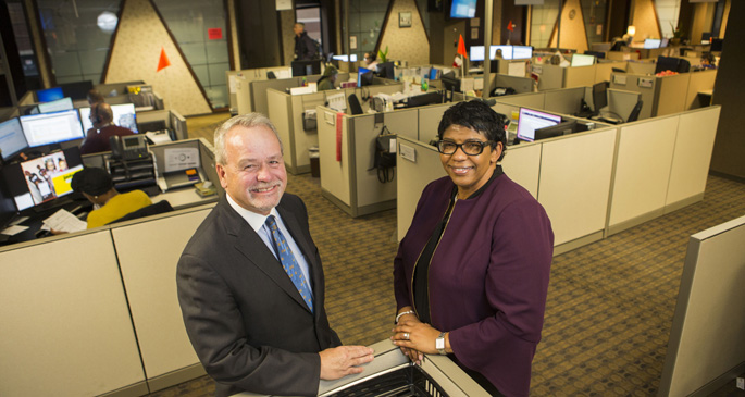 Thomas Nantais, MBA, and Lisa Griffin, MBA, CCCM, lead the Patient Access Services team as improvements are made in how both patient and referring provider calls are handled.