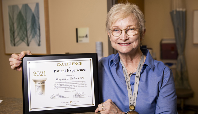 Margaret Taylor, DNP, CNM, received more than 30 patient survey responses and earned a perfect 100 score on those surveys during fiscal year 2021.