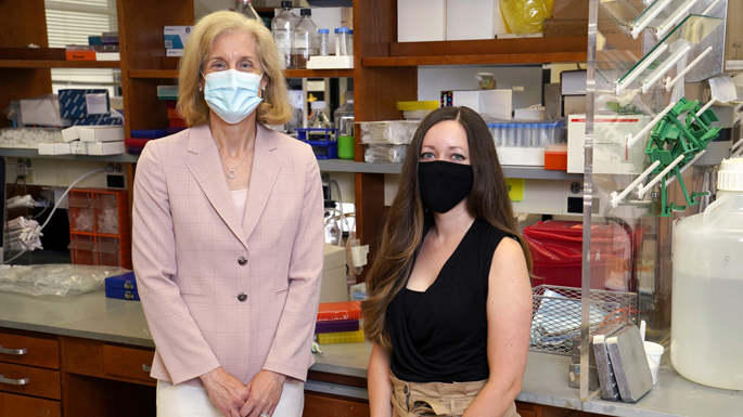 The team studying tumor suppressor protein p53 includes, from left, Jennifer Pietenpol, PhD, and Lindsay Redman-Rivera.