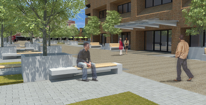 The restoration of the Vanderbilt University Hospital plaza will include an all new surface, additional seating and redesigned landscaping.