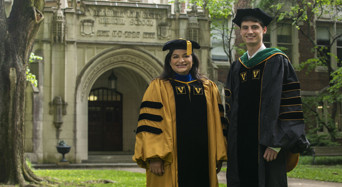 Graduate School student Gabriela Alvarado, School of Medicine student Will French, and School of Nursing students are among those taking part in today's Commencement exercises.