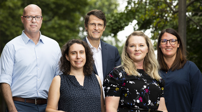 The psychosis study team includes, from left, Neil Woodward, PhD, Maureen McHugo, PhD, Stephan Heckers, MD, MSc, Suzanne Avery, PhD, and Kristan Armstrong, PhD.