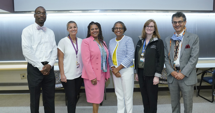 Participants in Radiology's Diversity, Equity and Inclusion Week events were, from left, Marques Bradshaw, MD, MSCR, Lucy Spalluto, MD, MPH, Karen Winkfield, MD, PhD, Andrea Birch, MD, Virginia Planz, MD, and Reed Omary, MD, MS. (Photo taken prior to revised masking guidelines.)