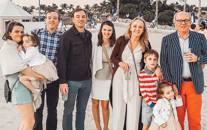 The Reed family includes, from left, Nicole, holding Alice, Ed, Sam, Micaela, Brenda, Nicholas, Olivia and Colin Reed. (Photo taken prior to social distancing.)