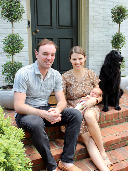 Sam and Micaela Reed with daughter Katherine and dog Moxie.