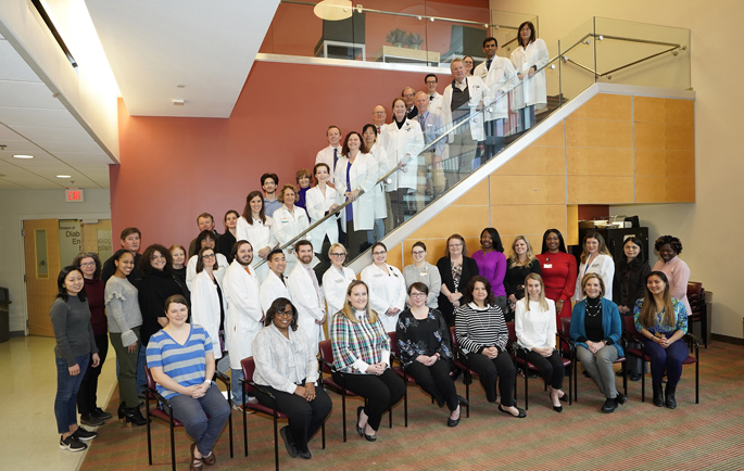 Four Rheumatology clinical areas earned Excellence in Patient Experience awards for fiscal year 2020. Shown here are rheumatology faculty and fellows. (photo taken prior to social distancing)