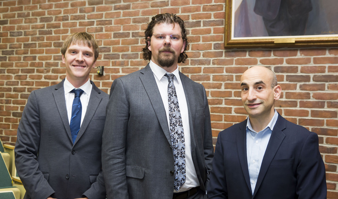 Vanderbilt's Colin Walsh, MD, MA, left, Bennett Landman, PhD, and Bradley Malin, PhD, discussed how artificial intelligence is transforming patient care during their recent Cutting Edge Discovery Lecture.