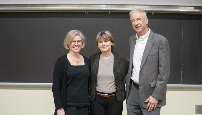 Ruth Lehmann, PhD, center, a world-renowned expert on the biology of germ cells, delivered last week's Flexner Discovery Lecture. Here, she poses with Ian Macara, PhD, chair of Vanderbilt's Department of Cell and Developmental Biology, which sponsored the lecture, and Andrea Page-McCaw, PhD.