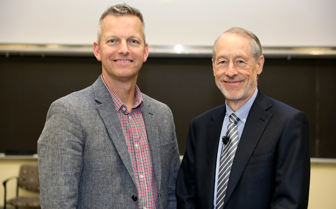 Richard Locksley, MD, right, spoke about his allergic diseases research during his recent Flexner Discovery Lecture. Here, he poses for a photo with VUMC's Eric Skaar, PhD, MPH.