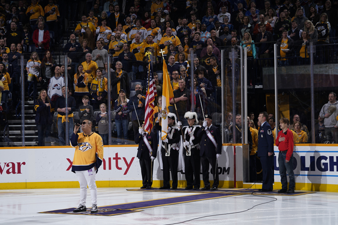 Ray Cruz, a patient at Monroe Carell Jr. Children's Hospital at Vanderbilt, performed the national anthem at the Nashville Predators Hockey Fights Cancer night. The event brings special guests from Children's Hospital to Bridgestone Arena for a one-of-a-kind experience. Patients are able to tour the locker rooms, meet the team, ride the Zamboni and join the players on the ice. Over the past eight years combined, the team has provided more than $2 million in donations and in-kind contributions to Children's Hospital and its programs.