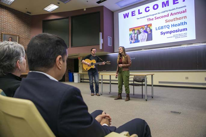 Molly Adele Brown, accompanied on guitar by Tim Angsten, sang at the Second Annual Southern LGBTQ Health Symposium to engage providers, students and community members throughout the region on ways to better serve sexual and gender minority patients and families. The event was presented by the Vanderbilt Program for LGBTQ Health.