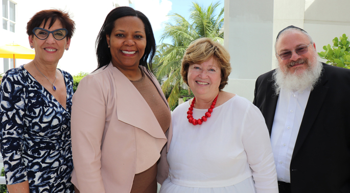 Pictured at the recent 2018 Precision Medicine and Health Disparities Collaborative Annual Meeting are, from left, principal investigators Maria Lima, PhD (Meharry Medical College); Consuelo Wilkins, MD, MSCI (Meharry-Vanderbilt Alliance); Nancy Cox, PhD (Vanderbilt); and Roy Weiss, MD, PhD (University of Miami Miller School of Medicine).
