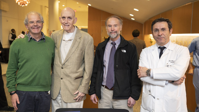 "William Stone, MD, second from left, poses with longtime friends and colleagues Roy Zent, MD, left, Ray Harris, MD, and Alp Ikizler, MD, following a ""retirement symposium"" held in his honor recently. Stone, professor of Medicine in the Division of Nephrology, is retiring this fall after 50 years on the Vanderbilt faculty."
