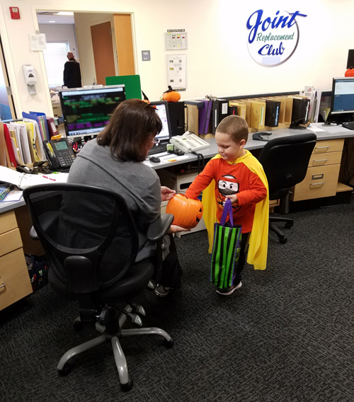 "On Halloween, speech therapists at Vanderbilt Wilson County Hospital led children trick-or-treating around patient floors and nursing stations as part of their routine therapy. Children used socialization and pragmatic language skills to ask staff for treats and practiced their ""K"" sounds as they said ""trick or treat"" and ""thank you."""