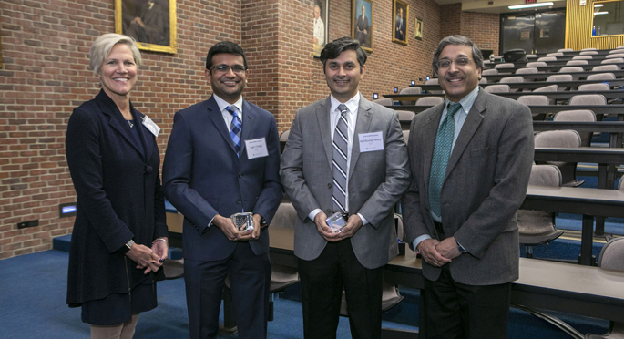 Speakers at the inaugural SCRIPS Spring Symposium (Supporting Careers in Research for Interventional Physicians and Surgeons) last week were, from left, Kelle Moley, MD, senior vice president and chief scientific officer of the March of Dimes; 2018 SCRIPS Scholars Yash Choksi, MD, and Akshitkumar Mistry, MD; and Anil Rustgi, MD, the T. Grier Miller Professor of Medicine and Genetics at the University of Pennsylvania's Perelman School of Medicine and incoming director of the Herbert Irving Comprehensive Cancer Center in New York. The SCRIPS program is supported by the Burroughs Wellcome Fund.