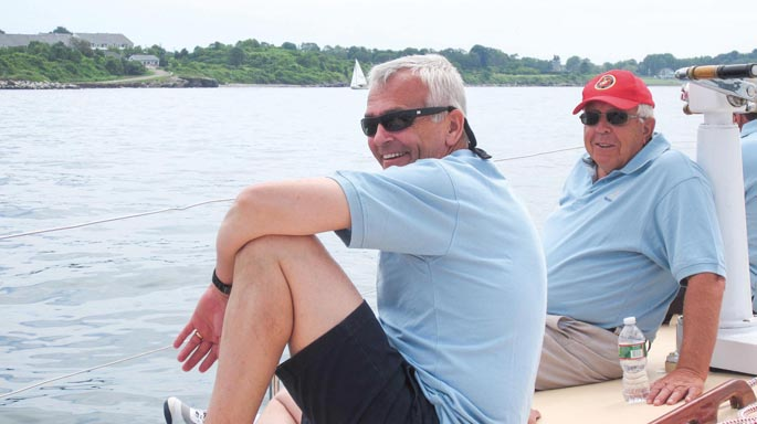 Longtime colleagues and friends Curt Thorne, left, and Terry Burke enjoyed sailing together.