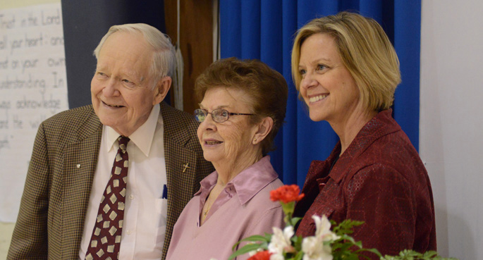 Joyce Jackson, right, established a fund in honor of her parents, Hazel and George Fellendorf, to support programs that benefit children with hearing loss.