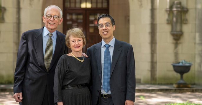 Steve Riven, left, and his wife, Jan, here with Thomas Wang, MD, have established a directorship in cardiology in memory of Riven's father, Samuel Riven, MD, who served on the Vanderbilt faculty for more than 50 years.