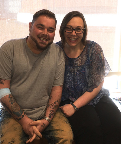 Congenital heart disease patient Shawn Land, left, here with his sister, Crystal Faulkner, received his heart transplant in January.