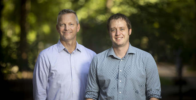 The antibacterial mechanism study team includes Eric Skaar, PhD, MPH, left, and Andrew Monteith.
