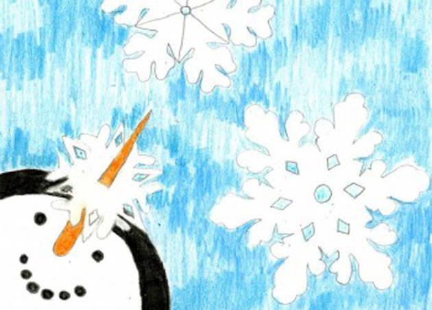 """The """"Smiling Snowman"""" holiday card features art by Allison Rogers, age 15."""