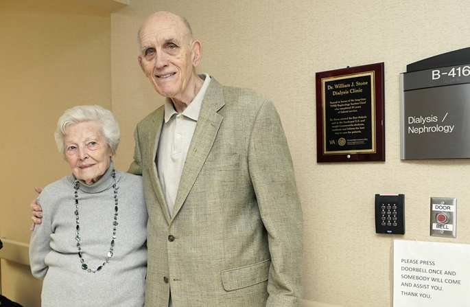 Recently retired nephrologist William Stone, MD, here with his longtime assistant Darlene Anderson, at the Nashville Veterans Affairs hospital's dialysis unit, which was renamed in Stone's honor.