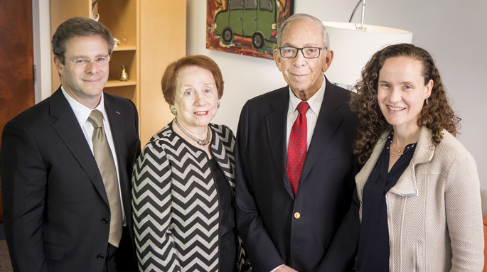 Celebrating the J. Kenneth Jacobs Fellowship in Surgery's recent milestone were, from left, Seth Karp, MD, Ellen Jacobs, J. Kenneth Jacobs, MD, and Kyla Terhune, MD, MBA.