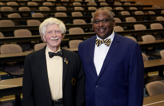 John Tarpley, MD, left, poses with Steven Stain, MD, past president of the Society of Black Academic Surgeons, before Tarpley's lecture.