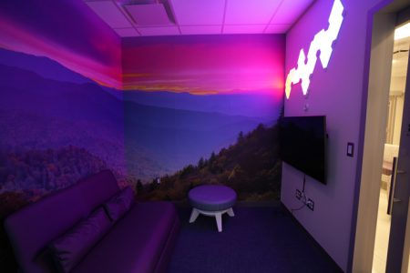 The mediation area is located off the main teen cancer lounge.