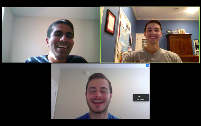 VUSN students Kaustav Shah (top left), Austin Triana and Roman Gusdorf helped lead an effort by more than 100 medical students to train both medical providers and adult patients how to use telehealth.
