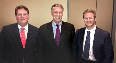 At the Vanderbilt Transplant Center anniversary celebration are, from left, C. Wright Pinson, MBA, MD, Bill Frist, MD, And Seth Karp, MD.