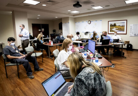 A two-part command center — operational and technical — was staffed by both on-site and remote team members.