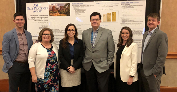 VUMC pharmacy members Jacob Jolly, PharmD, CSP, Sheena Illarramendi, CPhT, Tara Kelley, PharmD, MMHC, Jim Hayman, MBA, MS, Liz Cherry, PharmD, CSP, and Matt Phillips, PharmD, at the American Society of Health Systems Pharmacists Midyear Clinical Meeting and Exhibition in Las Vegas.