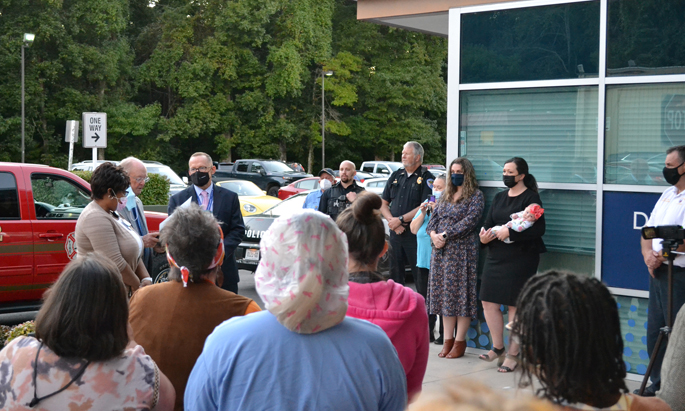 VTHH staff joined Tullahoma officials outside for the presentation of the proclamation. Many staff members watched from windows as they continued to care for patients.