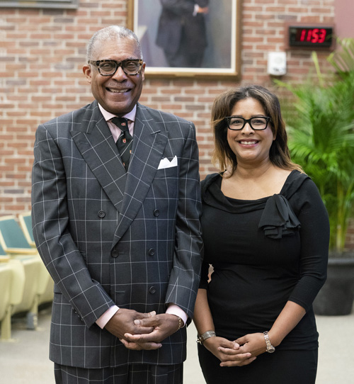 Isla Garraway, MD, PhD, and André Churchwell, MD, pose for a photo at Tuesday's Levi Watkins Jr., MD Lecture.