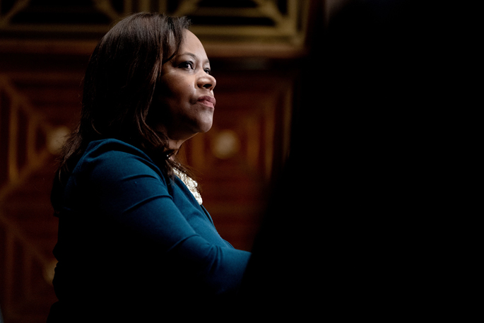 •Consuelo Wilkins, MD, MSCI, listens during a U.S. Senate HELP Committee hearing at the Dirksen Senate Office Building on Capitol Hill in Washington D.C.