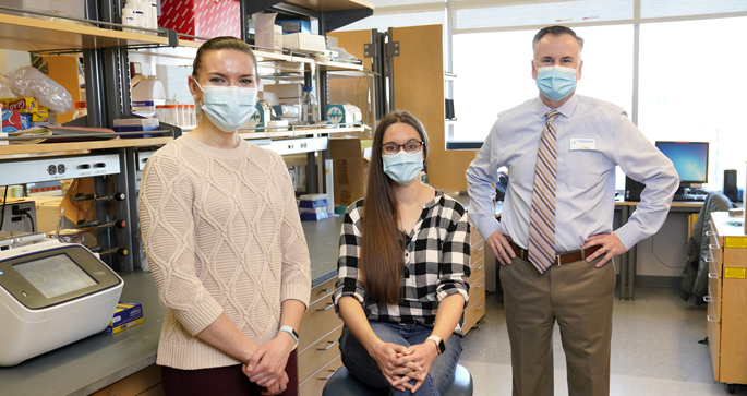 Jennifer Pilat, left, Sarah Short, PhD, Christopher Williams, MD, PhD, and colleagues are studying a biomarker for assessing disease severity and cancer risk in patients with inflammatory bowel disease.