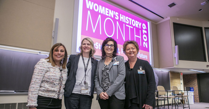 From left, VUMC administrative leaders Zeena Abdulahad, MPA, Sarah Hagovsky, MBA, Renee Boggs, MSN, RN, CPN, and Teresa Dail, RN, CMRP, recently participated in the Women's History Month panel, spoke about their experiences in the workplace, and shared career advice.