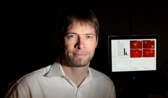 Andries Zijlstra, Ph.D., and colleagues are studying a biomarker that can help predict prostate cancer recurrance. (photo by Susan Urmy)