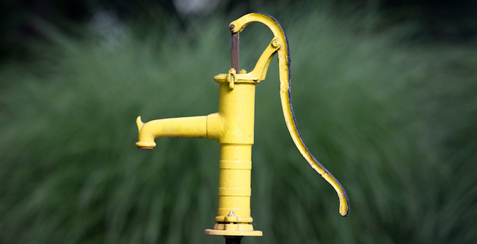 bright yellow water pump