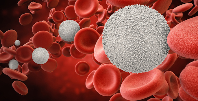 3d rendering white blood cells with red blood cells